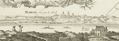 """""""Vue de la ville de Mahon, avec ses remparts (dessin extrait de la """"Carte topographique de l'Isle Minorque"""",  dédiée et présentée au Roy par le Chevalier de Beaurain, éditée en 1757)"""