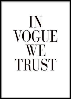 In Vogue we trust, poster ryhmässä Julisteet ja printit @ Desenio AB (7984)