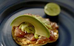 Contramar tuna tostadas with chipotle mayonnaise