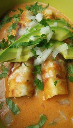 Potato and Cheese Flautas with a Cheese Enchilada Sauce