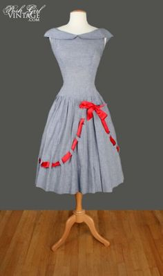 1950's blue & white gingham dress w red bow detail