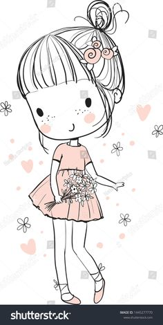 Doodle Art 432767845444047058 - Cute girl with a bouquet of flowers Source by Cute Doodle Art, Doodle Girl, Doodle Art Drawing, Cute Doodles, Cute Art, Illustration Mignonne, Cute Illustration, Girl Cartoon, Cute Cartoon