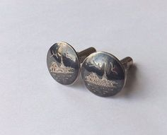 VINTAGE SIAM CUFFLINKS Silver Tone with Black Enamel and Silver Faces  FREE P&P