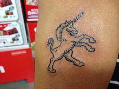 My nice unicorn tattoo Unicorn Tattoos, Unicorn Horse, Magical Creatures, Fantasy World, Unicorns, Scary, Nice, Unicorn, Nice France