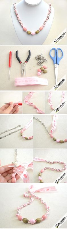 Jewelry Tutorial-How to make a Ribbon Necklace ... | share our craf...