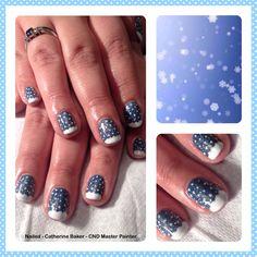 ❄️⛄️CND Shellac Blue Rapture layered with Ice Vapour & snow nail art⛄️❄️#cnd #shellac #nails #nailart #christmas #snowflake #snow #sparkle #glitter @Grace Crane Nail Art @Christine Caswell