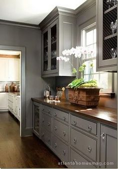 Love the chicken wire as alternative to glass cabinets, also the gray cabinets and wooden counters.