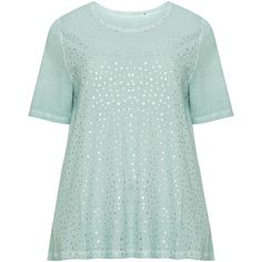 Via Appia Due Mint Plus Size Metallic print t-shirt ($30) ❤ liked on Polyvore featuring tops, t-shirts, mint, plus size, women's plus t shirts, green tee, short sleeve t shirt, plus size tops and women's plus size graphic tees