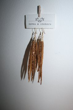 leather earrings- use glitter ribbon and make strips