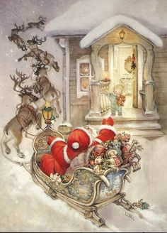 "Photo from album ""Lisi Martin Christmas Cards"" on Yandex. Christmas Scenes, Christmas Past, Christmas Pictures, Christmas Greetings, Winter Christmas, Christmas Crafts, Christmas Decorations, Father Christmas, Vintage Christmas Cards"