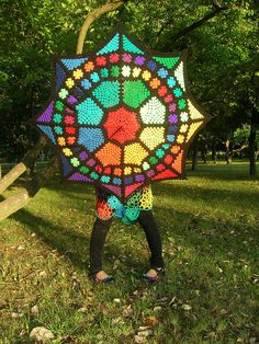 Enchanted Stained Glass Granny Square Umbrella by babukatorium, via Flickr