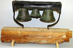 18th century handmade Aldbourne bells. The bells would originally have been mounted on a leather block to be used on the neck of a cart horse or load pulling ox. Bells produced at Aldbourne have a distinct style of their own for which they have become renowned. The foundry itself can be seen as a 'technical leader' in the art of the bell founding method. #Creative #Wiltshire #metalwork