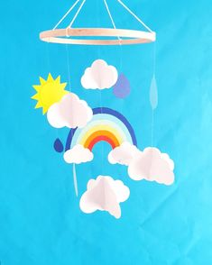 Mobile bébé 20x70cm Arc en ciel nuages en papier épais Eco responsable Cadeau de naissance Cadeau personnalisé Décor de chambre,Baby shower