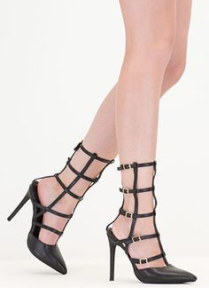 Cage In Point Strappy Gladiator Heels