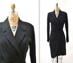 Black Silk Wrap Dress Size Medium Large // Vintage Black Wrap Dress Shirt Dress Silk Wrap Dress Size Medium Large by Hookedonhoney on Etsy