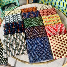 Samples of weaving to be shipped around the world for architectural projects Weaving Patterns, Textile Patterns, Textiles, Macrame Chairs, Woven Chair, Weaving Projects, Fabric Manipulation, Weaving Techniques, Loom Knitting
