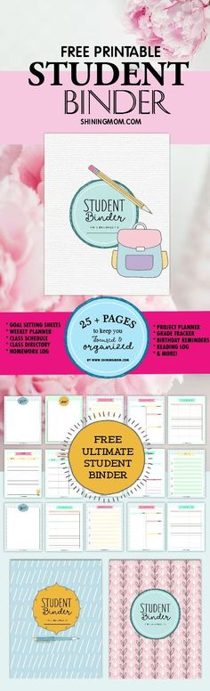 Printable Student Binder: Over 25 Excellent Planning Pages! - Free Printable Student Binder: Over 25 Excellent Planning Pages! - Free Printable Student Binder: Over 25 Excellent Planning Pages! - Weekly planner inserts weekly schedule weekly planner pages Planner Pages, Printable Planner, Free Printables, Printable Calendars, Study Planner, Binder Planner, Planner Inserts, College Organization, Planner Organization