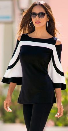 Fashion Black White Colorblock Bell Sleeve Cold Shoulder Top #top #fashion