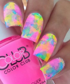 This colorful splash of matte colors is perfect for summer getaways and cool hang outs. You can actually do this by using a sponge to blotch some color on your nails. Having a base will help as well.