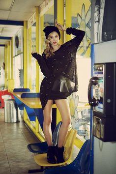 spiked jumper paired with peplum skirt. zazumi.com