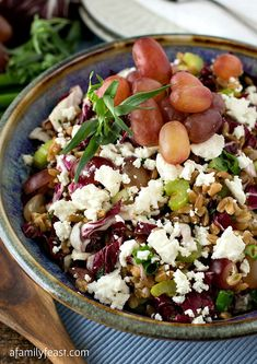 Farro Salad with Grapes, Goat Cheese and Tarragon Vinaigrette - a delicious and healthy recipe from Weight Watchers.