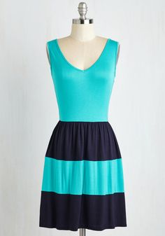 Pier Today, Gone Tomorrow Dress. Flaunt a statement-making look from the harbor to the horizon in this colorblocked dress - making waves at ModCloth this June! #blue #modcloth