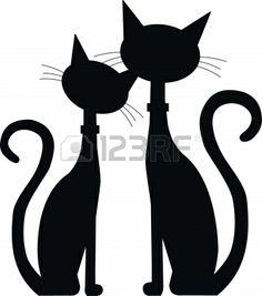 silhouette de deux chats noirs Banque d'images - 15499811