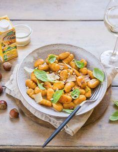 Gnocchi de patate douce sauce noisettes et gorgonzola - les meilleures recettes de cuisine d'Ôdélices