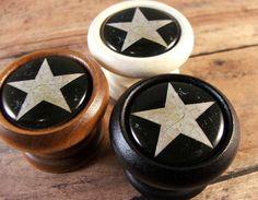 Folk Art Star Decorative Wood Cabinet Knobs, Pulls...Price is for 1 Knob
