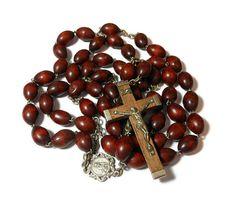 Antique Italian rosary large dark olive by maggiescornerstore