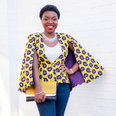 African Dresses For Women, African Wear, African Fashion Dresses, Blazer Jackets For Women, Blazers For Women, Rihanna White Dress, White Cape Blazer, No Sew Cape, Ankara Jackets