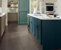Kitchen Island Close Up diamond reflections mercer maple seal, maritime, and egret