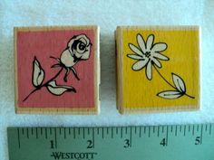 Rose and Flower Wood Mounted Rubber Stamps - Vap Scrap - Set of 2 by DocksideDesignsEtc on Etsy