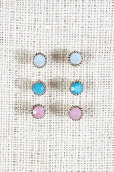 Round Cut Gem Earrings