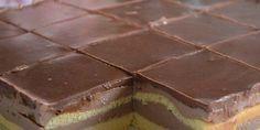 jednoduché pudinkové kostky Jednodušší koláček jak tento jsem ještě nedělala. Vynikající chuť pudinků v kombinaci s piškotovým těstem. Na vrchu čokoládová poleva, no na sežrání.