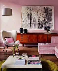 #living-room, #artwork, #paint-color, #pink, #credenza, #walls    View entire slideshow: 25 Pink Rooms that Wow on http://www.stylemepretty.com/collection/365/