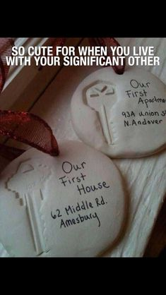 Super cute ornaments to do with a boyfriend/girlfriend or husband/wife. First apartment, first home! So doing this!