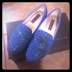 Steven by Steve Madden Studded Loafer, Sz 8 Sparkly pretty blue loafer . Only use 3x . Few missing studs as shown with 5 extra studs to glue in . Sz 8 . Steven by Steve Madden Shoes Flats & Loafers