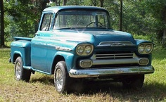 1958 Chevy Apache. Very similar to this one. I painted it VW Sky Blue, and we drove it cross country when we moved from California to Virginia in 1985, towing our new car behind it lol.