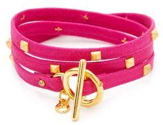 Pink neon leather wrap bracelet: Gorjana jewelry