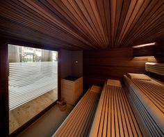 Sauna Finlandese // Dolce Vita Spa & Wellness // San Martino di Castrozza Sauna Steam Room, Sauna Room, Saunas, Sauna Wellness, Sauna Design, Lounge, Home And Living, House Design, Architecture