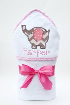 This unique, monogrammed hooded baby towel comes beautifully personalized with the baby girls name below an adorable baby elephant applique. It makes the perfect baby shower gift! Baby Girl Names, Baby Girl Gifts, Baby Girls, Elephant Baby Showers, Baby Elephant, Elephant Applique, Baby Bath Time, Baby Towel, Best Baby Shower Gifts