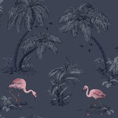Dutch Wallcoverings Imaginarium Flamingo Lake Midnight Bleu Pink 12382 is part of Pink painting Wallpaper - Pink Flamingo Wallpaper, Navy Wallpaper, Rose Gold Wallpaper, Feature Wallpaper, Tree Wallpaper, Paper Wallpaper, Painting Wallpaper, Blue Wallpapers, Pink Flamingos