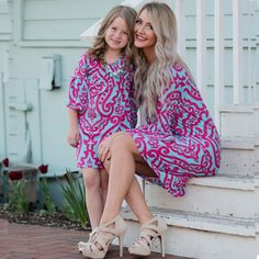 Mother & Kids Discreet Mother Daughter Dress Family Matching Outfit Casual Loose Unicorn Print Ladys Short Sleeve Summer Girl Clothes Cotton Blend