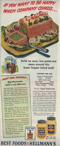 Okay...This is square bologna, scooped out.  The filling is mashed peas, mayo, gelatin,and minced onions, and stuffed inside.  That's right...Baloney and mashed pea jello brick.     You're Welcome.