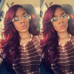 Love this hair color. Black Girls Hairstyles, Pretty Hairstyles, Weave Hairstyles, Straight Hairstyles, Curly Hair Styles, Natural Hair Styles, Red Hair Don't Care, Burgundy Hair, Maroon Hair