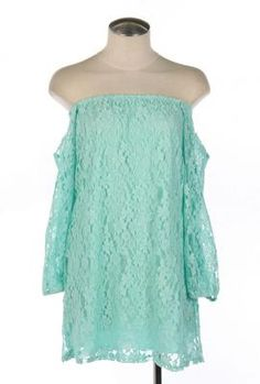 Dream Sequence Lace Off Shoulder Shift Dress in Mint   Sincerely Sweet Boutique