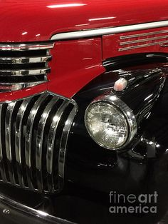1946 Chevrolet 1/2 Ton Pickup Truck  ~ Red, Black and shiny chrome ...A true American Classic