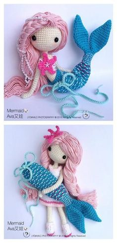 6 Crochet Amigurumi Mermaid Doll Patterns - Crochet and Knitting Patterns Puppen Meerjungfrau 6 Crochet Amigurumi Mermaid Doll Patterns - Crochet and Knitting Patterns Cute Crochet, Crochet For Kids, Crochet Crafts, Crochet Projects, Knit Crochet, Crochet Ideas, Crochet Stitches, Diy Crochet Doll, Crochet Humor