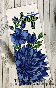 Close To My Heart, Flower Cards, Miss You, Paper Crafting, Blue Bird, Hugs, I Card, Greenery, Card Stock